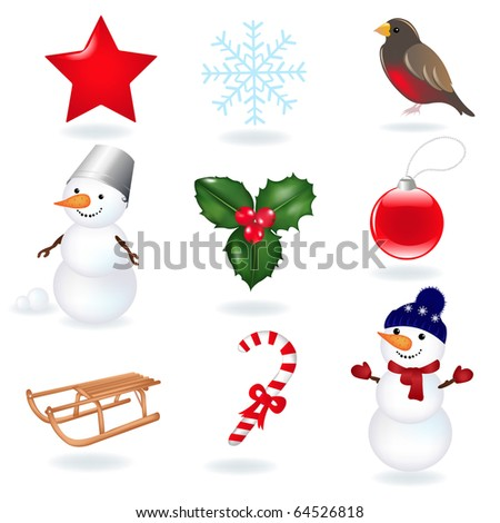 Christmas Icons, Isolated On White Background
