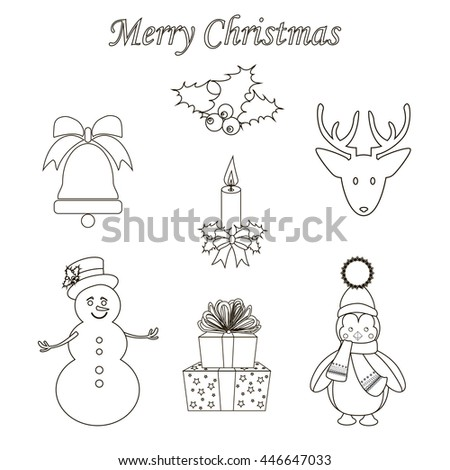Christmas Icons Set on the white background. illustration.