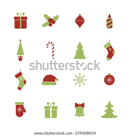 Christmas icons set. Raster version - stock photo