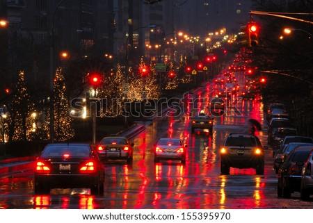 Christmas illumination at night along Park Avenue, Manhattan, New York - stock photo
