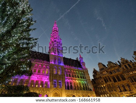 Christmas illumination of Grand Place in Brussels, Belgium - stock photo