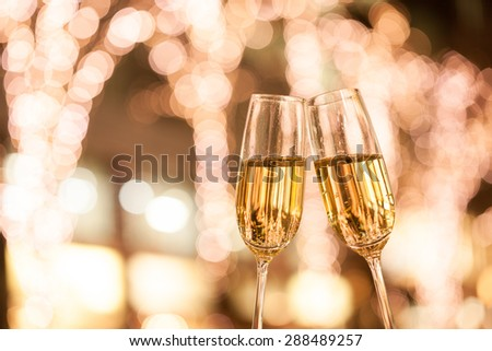 Christmas illuminations and champagne glass