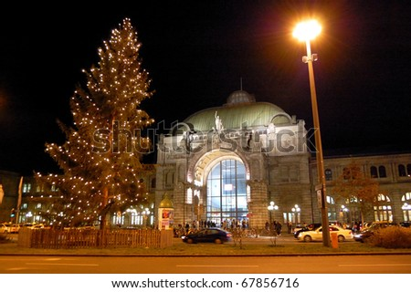 Christmas Illuminations and Nuremberg Central Station in Germany - stock photo