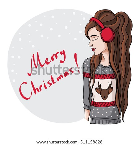 Christmas illustration of a girl in a warm sweater with a deer pattern
