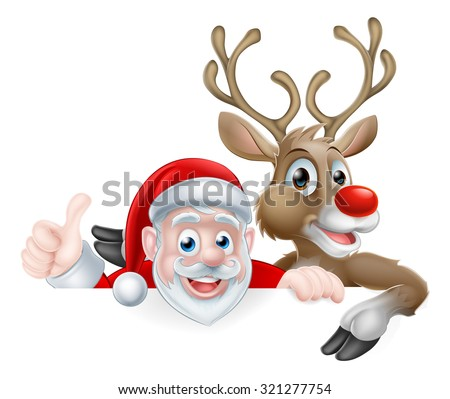 Christmas illustration of cartoon Santa and reindeer peeking above sign and giving a thumbs up - stock photo
