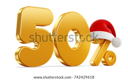 Christmas illustration of golden percent and red hat on white background. 3D rendering illustration. Fifty.