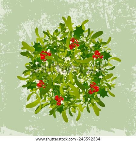 Christmas Illustration of The Mistletoe Vintage Grunge Background  - stock photo