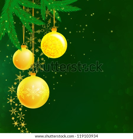 Christmas illustration of three balls, branches: frame, card, banner