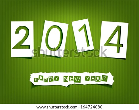 Christmas illustration. Paper numbers and letters pasted on a green background. Raster version - stock photo