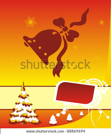 Christmas illustration template for greetings or advertising - stock photo