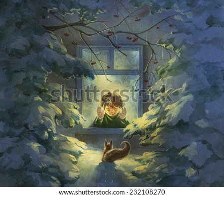 Christmas illustration with a boy looking out of window and a squirrel outside in a snowy winter forest on a Christmas night - stock photo