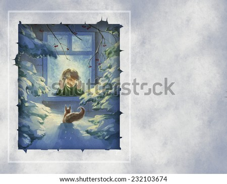 Christmas illustration with a child looking out of window and a squirrel outside in a snowy winter forest
