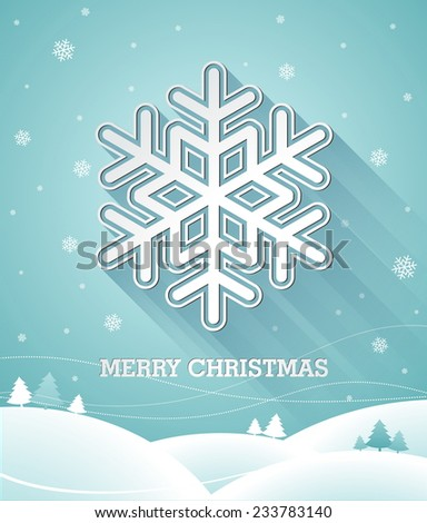 Christmas illustration with 3d snowflake on blue background. JPG version. - stock photo