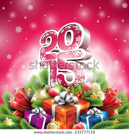 Christmas illustration with 3d 2015 typographic design and shiny holiday elements on red background. JPG version. - stock photo