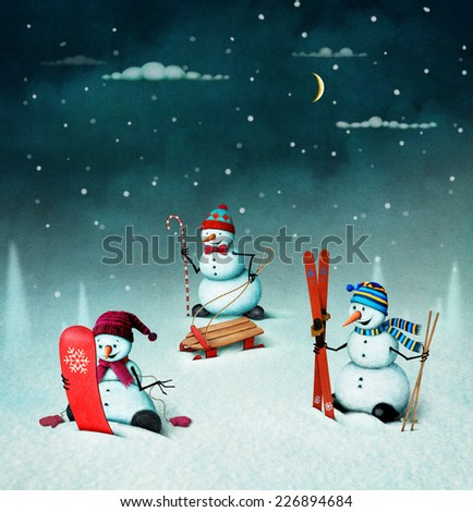 Christmas illustration with snowmen and sports elements.  - stock photo