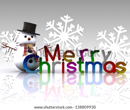Christmas illustration with text and snowman - stock photo