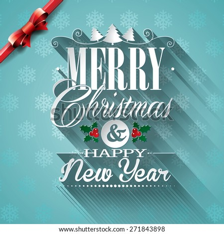 Christmas illustration with typographic design and ribbon on snowflakes background. JPG version. - stock photo