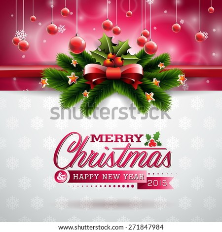 Christmas illustration with typographic design and shiny holiday elements on snowflakes background. JPG version. - stock photo