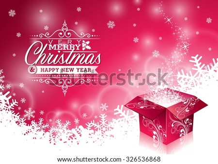 Christmas illustration with typographic design and shiny magic gift box on snowflakes background. JPG version. - stock photo