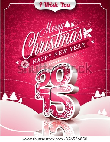 Christmas illustration with typographic design on landscape background. JPG version. - stock photo