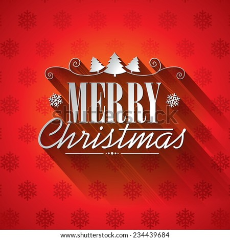 Christmas illustration with typographic design on snowflakes background. JPG version. - stock photo