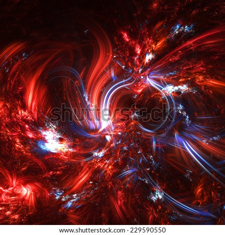 Christmas imagination. Flame and icy creativity artistic background. The abstract glowing fantasy red and blue texture with twirl, swirl  for a night disco party. Fractal art - stock photo