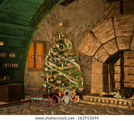 Christmas in a fantasy house