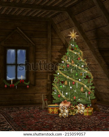 Christmas in a wooden cottage