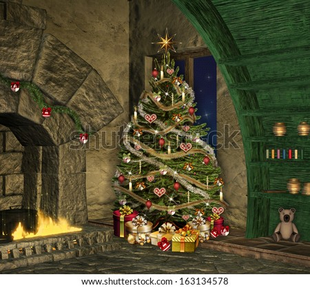 Christmas in an old cottage