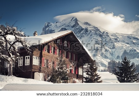 Christmas in Swiss Alps hotel, Grindelwald, Interlaken - stock photo
