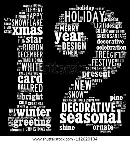 Christmas info-text graphics arrangement concept composed in number 12 shape on black background