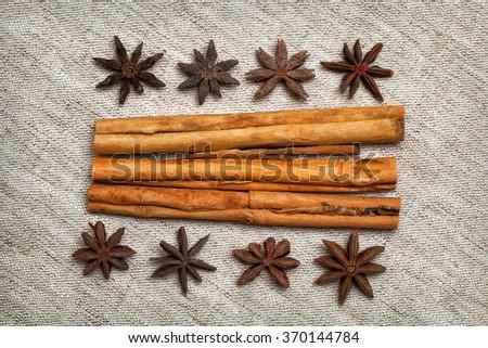 Christmas ingredients - cinnamon sticks, star anise - stock photo