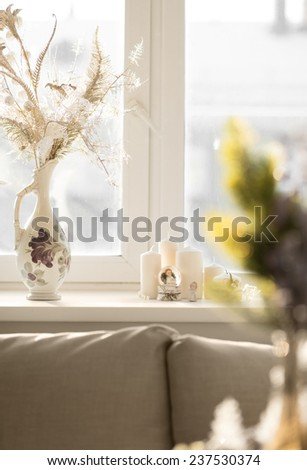 Christmas interior in natural light of sunny day - stock photo