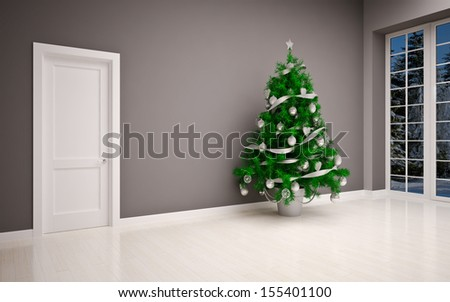 Christmas interior with  Christmas tree - stock photo
