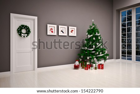 Christmas interior with door & tree - stock photo
