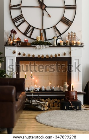 Christmas Interior with Fireplace - stock photo