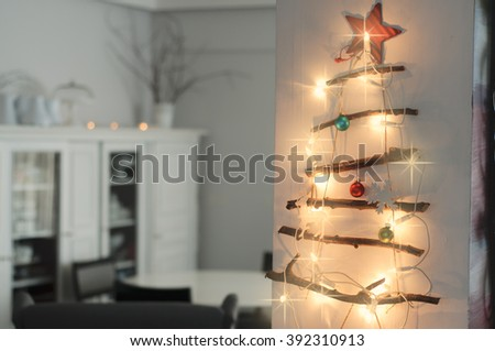 Christmas Interior with hand made Christmas tree