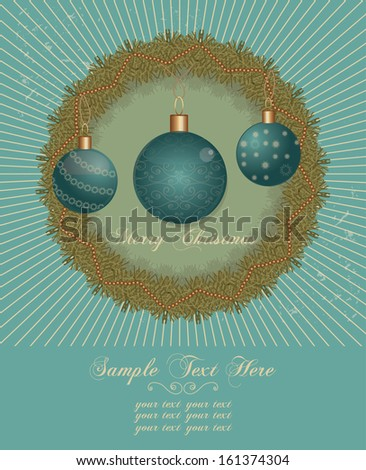 Christmas invitation card with decoration on grunge background raster version