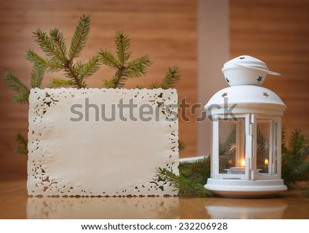Christmas invitation with place for your text, frame of trees. - stock photo