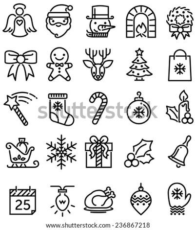 Christmas ios flat style icons - stock photo