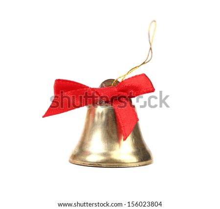 Christmas Jingle Bell and red bow on a white background - stock photo