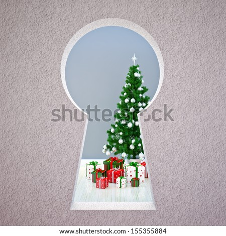 Christmas keyhole - stock photo