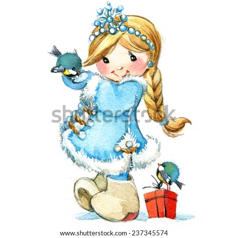Christmas kid and winter celebration. watercolor  - stock photo