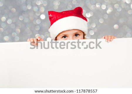 Christmas, kid - lovely Santa Claus with  white board - Space for text