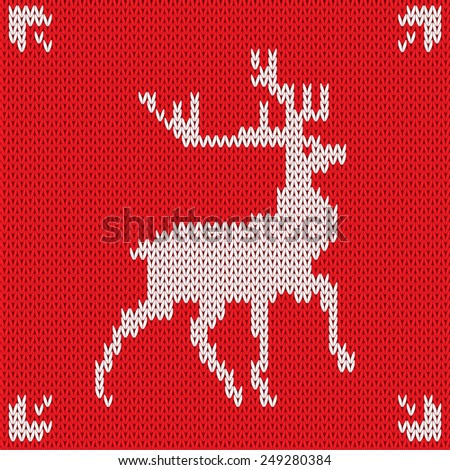 Christmas Knitted background with deer. Raster version