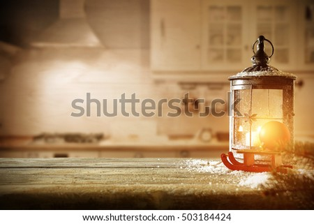 christmas lamp and kitchen interior