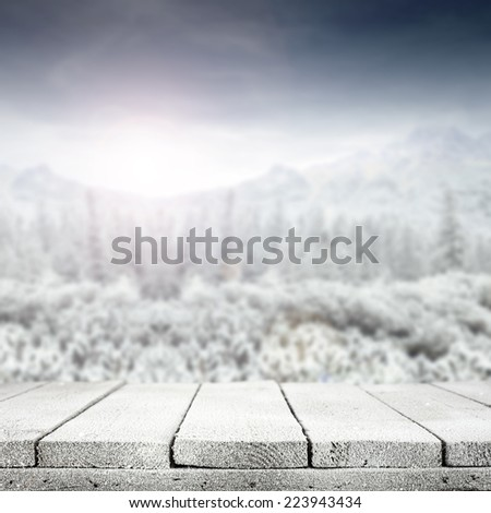 christmas landscape of mountains and snow table  - stock photo