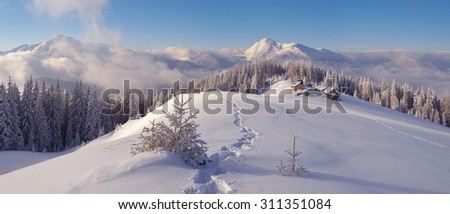 Christmas landscape. Winter in the mountains. Mountain village. Carpathians, Ukraine, Europe - stock photo