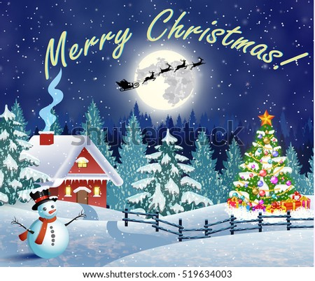 Christmas landscape with christmas tree and snowman with gifbox. background with moon and the silhouette of Santa Claus flying on a sleigh. concept for greeting or postal card, Raster version