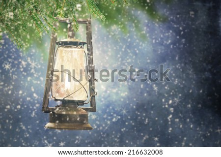 Christmas lantern - stock photo
